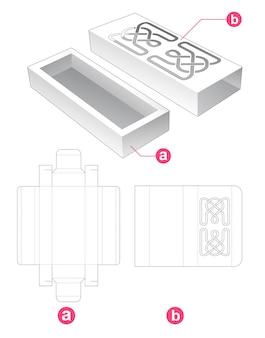 Kartonschale und deckel mit gestanzter schablone mit linienmuster