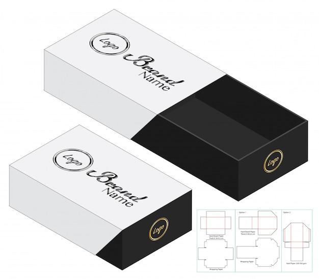 Kartonverpackung gestanzte schablonendesign. 3d-modell