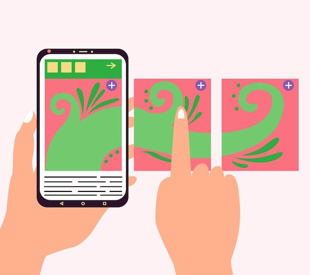 Karussell-post-seitentelefon hand blättert durch beiträge soziales netzwerk