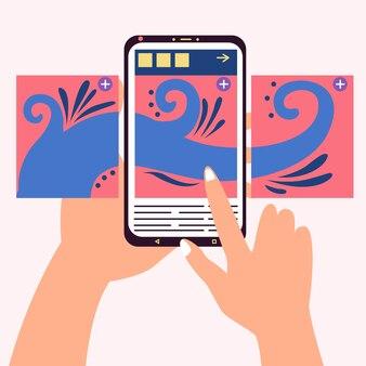Karussell-postzentrum-telefon hand blättert durch beiträge des sozialen netzwerks