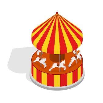 Karussellpferd oder karussellfahrt mit schattenelement vergnügungspark design isometrische ansicht.