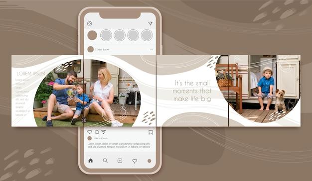 Karussellvorlagen für familien-instagram