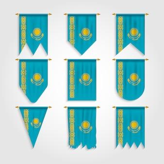 Kasachstan flagge mit verschiedenen formen, flagge von kasachstan in verschiedenen formen