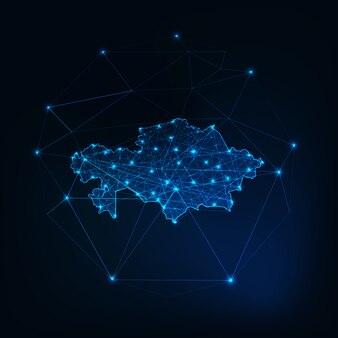 Kasachstan-karte niedriger polygonaler glühender schattenbildentwurf