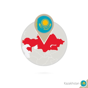 Kasachstan-karte und flagge im kreis. karte von kasachstan, flaggenstift von kasachstan. karte von kasachstan im stil der welt. vektor-illustration.
