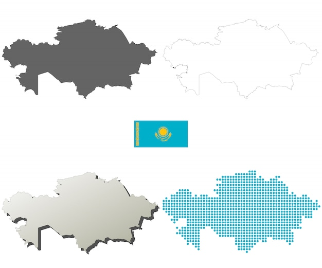 Kasachstan-vektorumreißkartensatz