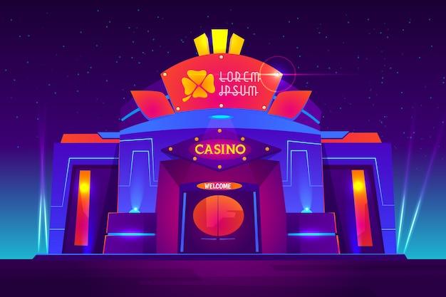 Kasino außen mit neonlichtern. vorderansicht des spielhauses mit kleezeichen auf eingang