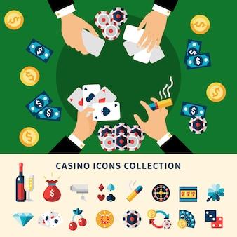 Kasino-ikonen-sammlungs-flache zusammensetzung