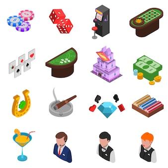 Kasino-isometrische ikonen eingestellt