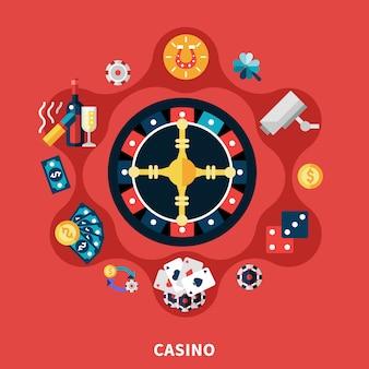 Kasino-roulette-ikonen-runde zusammensetzung