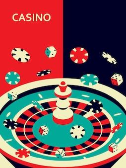 Kasino. roulette, pommes und würfel