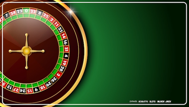 Kasino-rouletterad auf grüner kasinotabelle