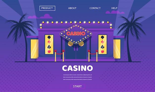 Kasino-spielendes haus-goldneonlicht-äußeres