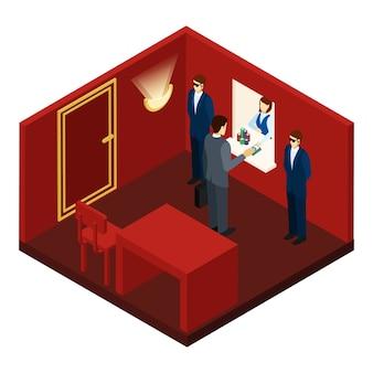 Kasino und spielende isometrische illustration