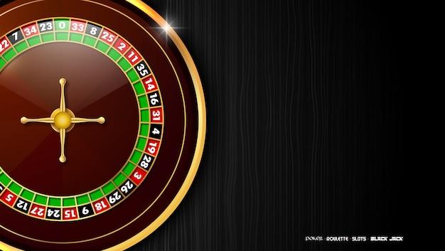 Kasinohintergrund mit roulettekessel auf dunklem holztisch