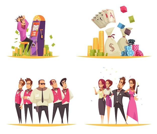 Kasinokonzept mit karikaturartzusammensetzungen von spielautomatkarten und von münzenbildern mit leuten