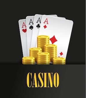 Kasinoplakat oder fahnenhintergrund oder fliegerschablone. pokereinladung mit spielkarten und fliegenden goldenen münzen. spieldesign. casino spiele spielen. vektor-illustration vier asse kombination.