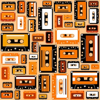 Kassettenband nahtlose muster retro-stil