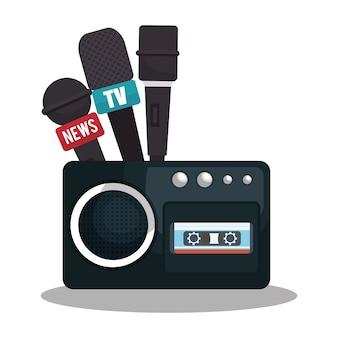 Kassettenrecorder-nachrichtenmikrofongraphik