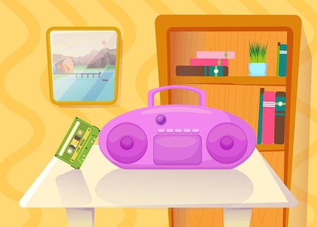 Kassettenrekorder mit kassette auf dem tisch vor dem bücherregal. rosa kassettenrekorder und band in der wohnzimmerkarikaturillustration