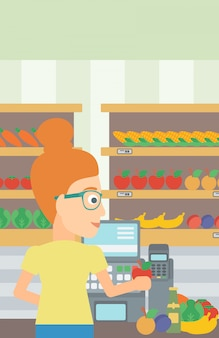 Kassierer an der supermarktkasse.