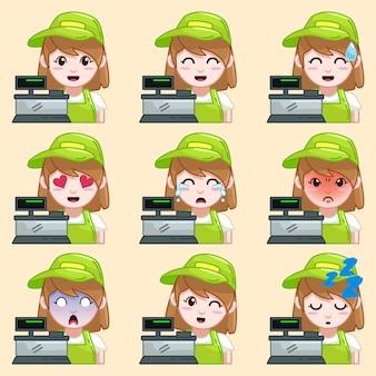 Kassierer emoticon aufkleber
