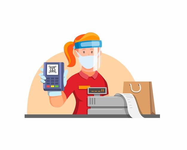 Kassierer kontaktlose zahlung mit qr-code. kassiererzähler, der gesichtsschutzmaske im neuen normalen aktivitätskonzept in der kartonillustration trägt
