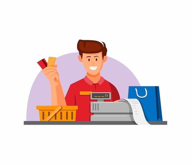 Kassiererarbeiter mit gutscheinkreditkarte für zahlungssymbolkonzept in karikaturillustration