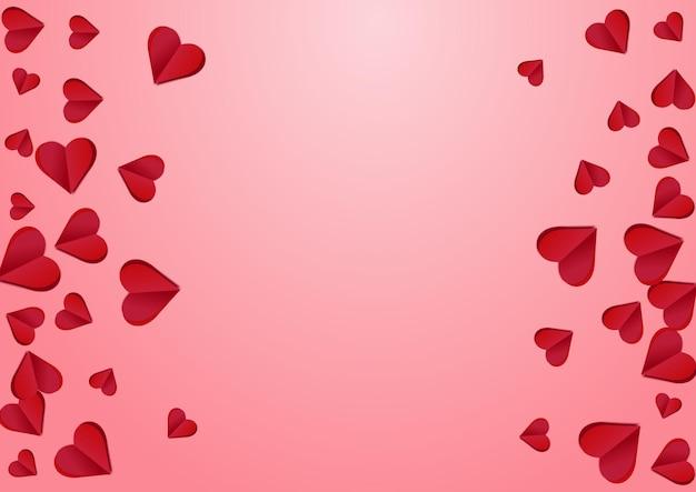 Kastanienbraune farbe herz vektor rosa hintergrund. konfetti-muster schneiden. rote dekoration herzen textur.