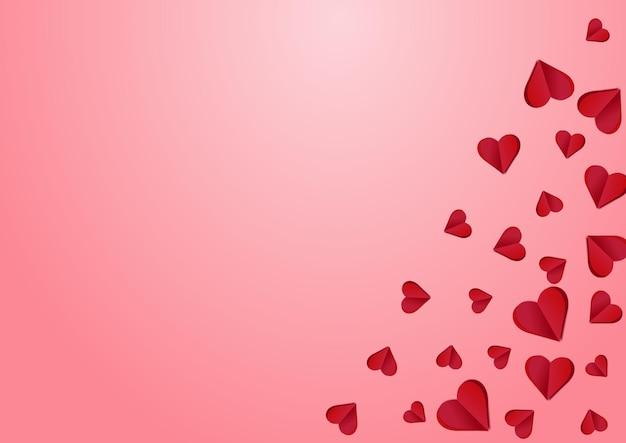 Kastanienbraune farbe herz vektor rosa hintergrund. visual hearts-vorlage. rosa liebe konfetti illustration.