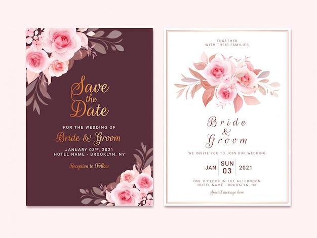 Kastanienbraune hochzeitseinladungsschablone gesetzt mit romantischem blumenrand und blumenstrauß. rosen und sakura blumen zusammensetzung