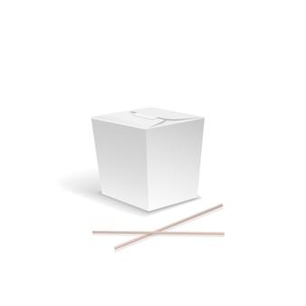 Kasten des weißen lebensmittels, behälter für schnelles chinesisches lebensmittel, nehmen nudelkasten mit essstäbchen heraus.