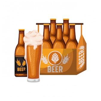Kasten mit bierflaschen und glas lokalisierter ikone