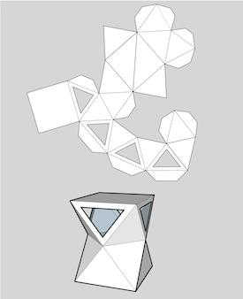 Kasten mit dreieckigen fenstern. verpackungsbox für lebensmittel, geschenke oder andere produkte. auf weißem hintergrund getrennt. bereit für ihr design. produktverpackung vektor eps10