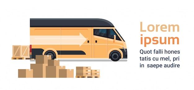 Kasten-pakete fest über lieferwagen-schablone, waren-versand-transport-service-konzept