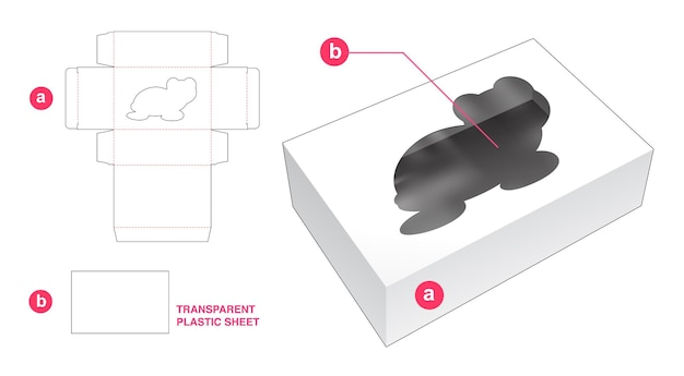 Kasten- und schildkrötenförmiges fenster mit transparenter plastikfolien-stanzschablone