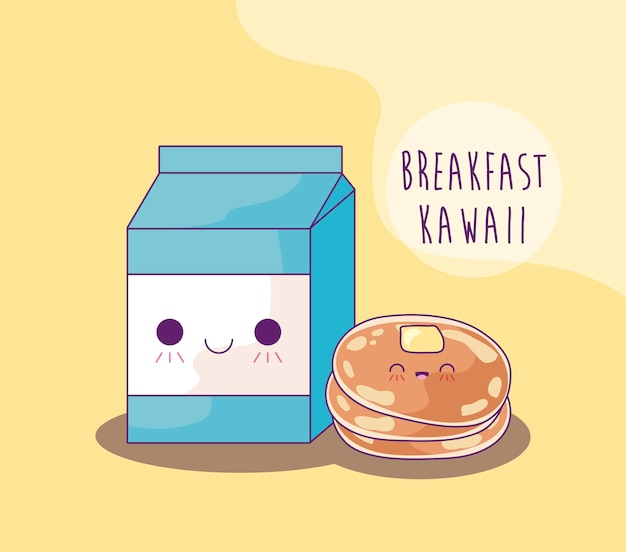 Kastenmilch mit pfannkuchen zum frühstück kawaii art