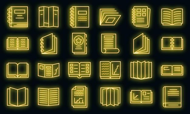 Katalogikonen eingestellt. umrisse von katalogvektorsymbolen neonfarbe auf schwarz