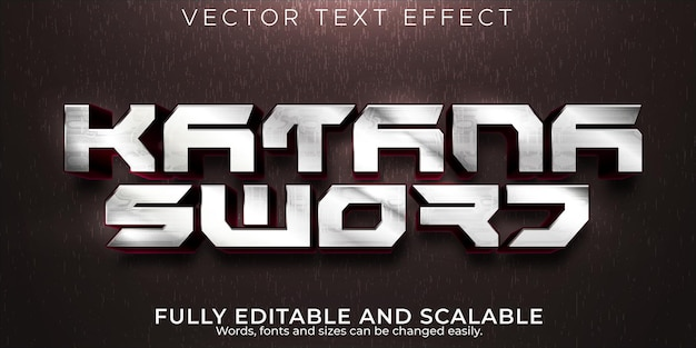 Katana schwert text effekt bearbeitbare samurai und martial text stil
