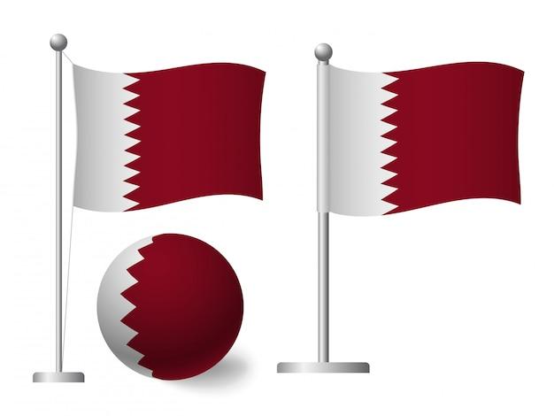 Katar flagge auf pole und ball symbol