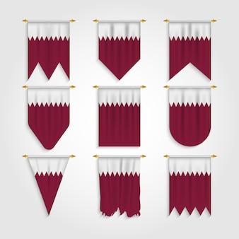 Katar flagge in verschiedenen formen, flagge von katar in verschiedenen formen