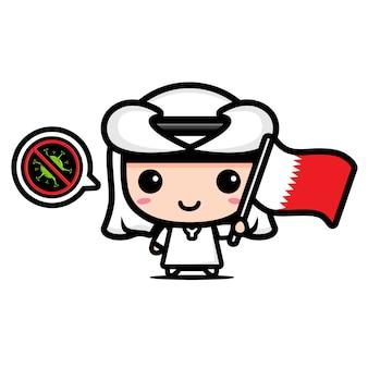 Katar junge mit flagge gegen virus