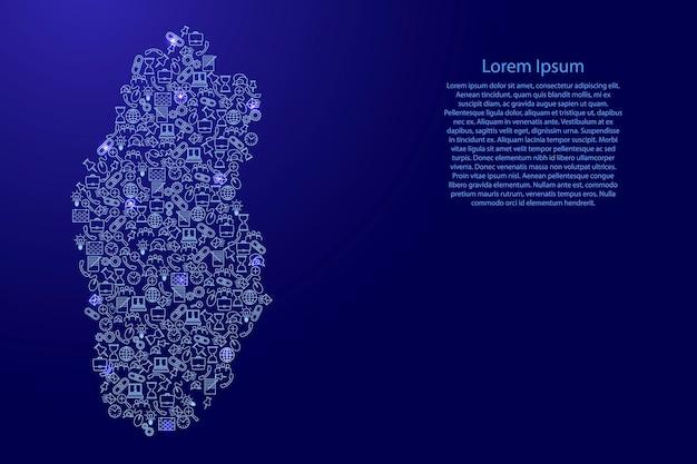 Katar-karte aus blauen und leuchtenden sternensymbolen mustersatz von seo-analysekonzept oder entwicklung, geschäft. vektor-illustration.