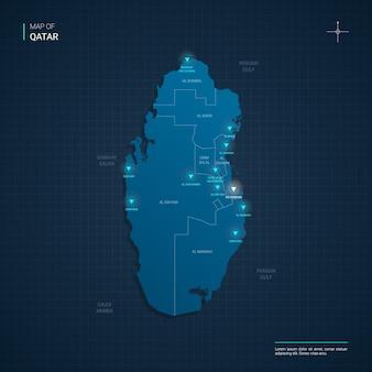 Katar karte mit blauen neonlichtpunkten