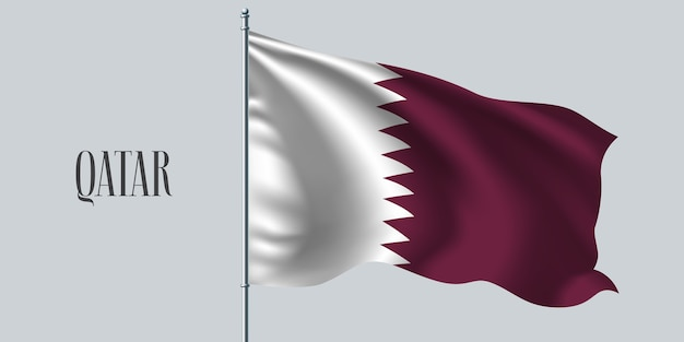 Katar schwenkt flagge auf fahnenmast.