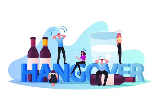 Kater, alkoholsucht-konzept. männliche und weibliche charaktere mit schädlichen gewohnheiten sucht und drogenmissbrauch, betrunkene männer und frauen nach party crapulence. cartoon-menschen-vektor-illustration