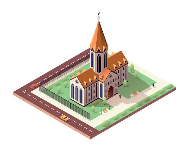 Katholische kathedrale mit veredeltem gebiet herum