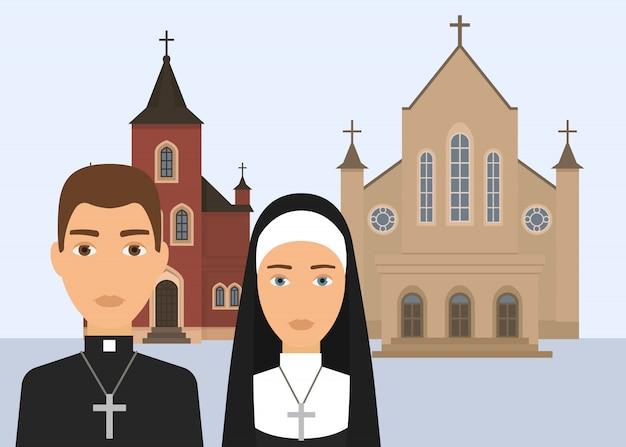 Katholische religion vektor-illustration. pastorcharakter und katholische nonne mit dem kreuz und kathedrale oder kirche lokalisiert auf weißem hintergrund. christliche religion des katholizismus