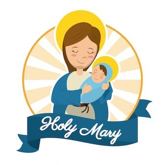 Katholisches statuenbild heiligen marys baby-jesus