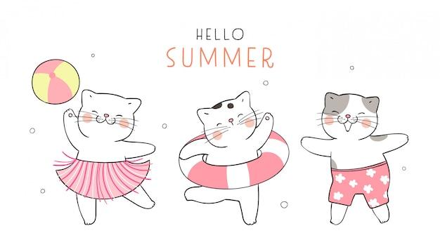 Katze am strand für die sommersaison.